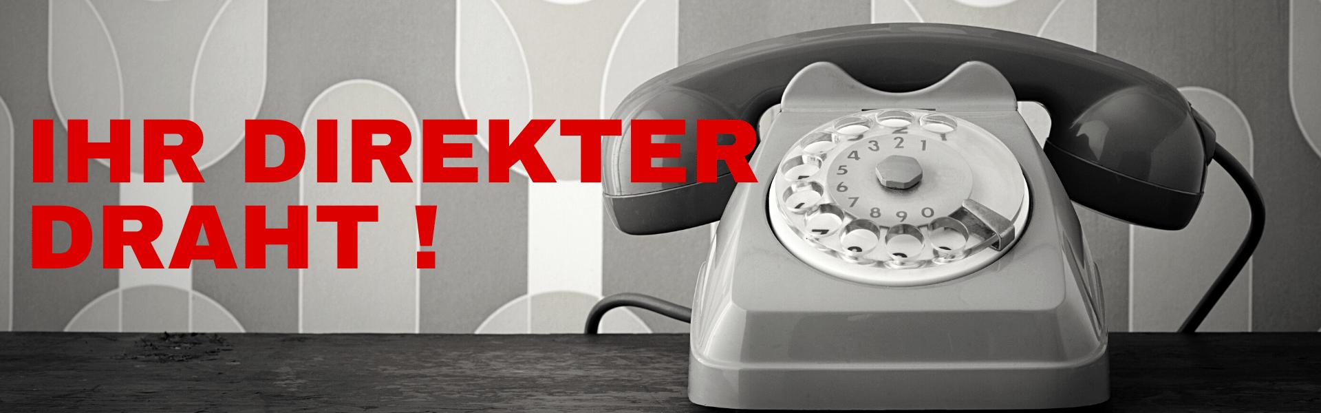 Altes Telefon mit Wählscheibe Kontakt SIGG Zeit zum Handeln Räumungsverkauf Sonderverkauf Abverkauf Jubiläumsverkauf