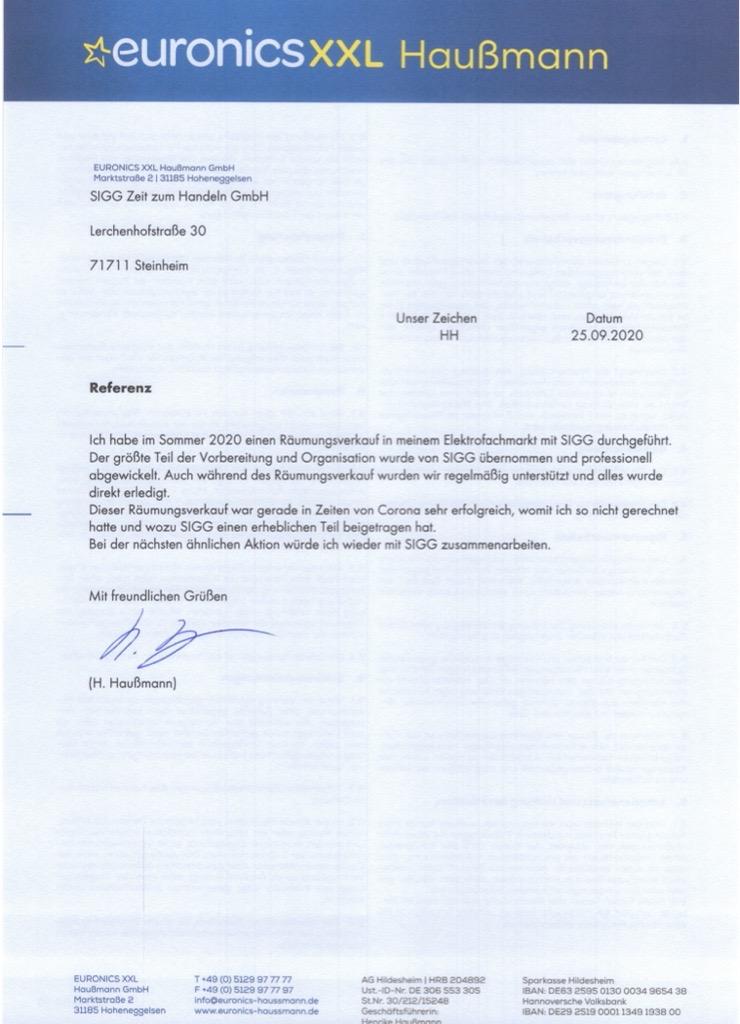 Referenz Euronics XXL Haußmann Hoheneggelsen Räumungsverkauf wegen Umbau Liquiditätsbeschaffung